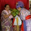 Dancer Smelling Leaves<br /> Nat Festival<br /> Hintha Gon Shrine<br /> <br /> Bago, Burma<br /> 25 December 2012
