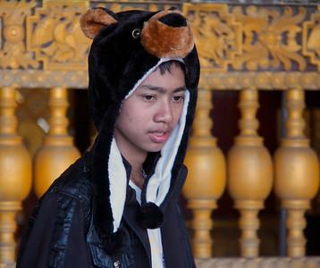 Boy Wearing Animal Hat