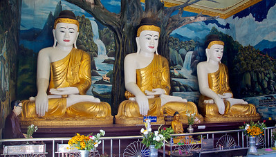 Three Buddhas with Mural Background