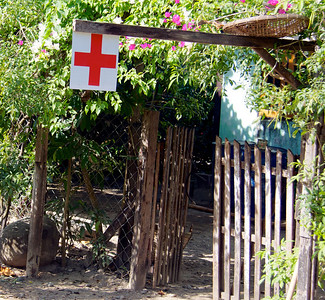 Red Cross Outside a House