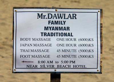 Massage Sign on the Beach