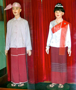 Male and Female Mannequins in Traditional Mon Attire