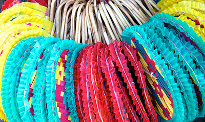Colorful Rattan Fans