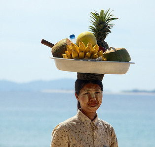 Fruit Vendor Walking Up and Down the Beach