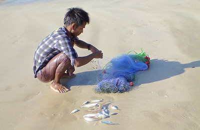 Fisher Untangling His Net with His Afternoon Catch on the Sand