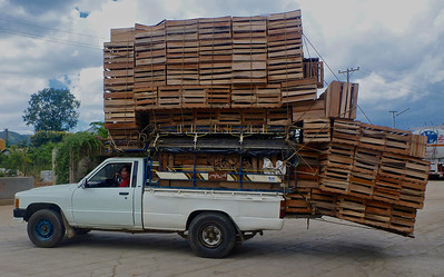 Pickup Truck Overloaded with Crates