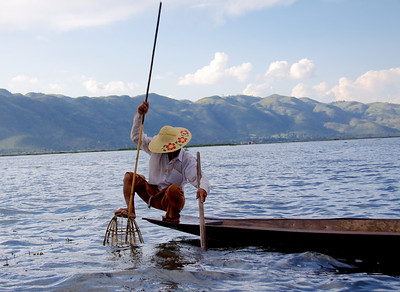 Pushing a Cone Net Into the Lake