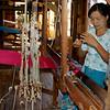Weaver Selecting Blue Thread<br /> Ko Than Hlaing Silk Weaving Shop<br /> In Paw Khone Village<br /> <br /> Inle Lake, Burma<br /> 30 October 2013