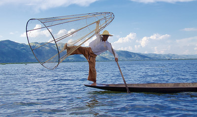 Balancing a Cone Net Before Pushing It into the Lake