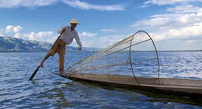 Leg Rowing the Fishing Boat