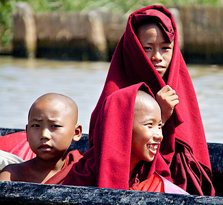 Young Monks on a Boat