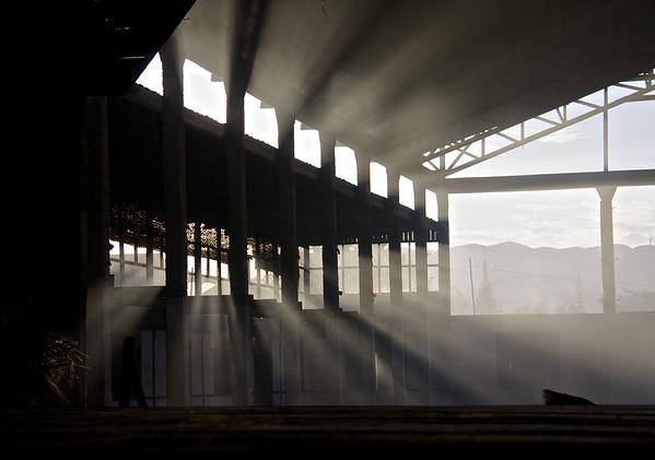 Light Shining through an Abandoned Building