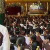 Women's Prayer Group Inside A Temple<br /> Shwedagon Pagoda<br /> <br /> Yangon, Burma<br /> 23 June 2013