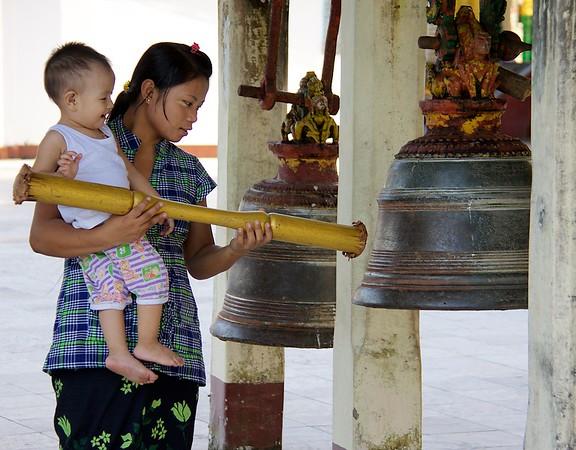 Sounding The Bell<br /> Shwedagon Pagoda<br /> <br /> Yangon, Burma<br /> 5 October 2013