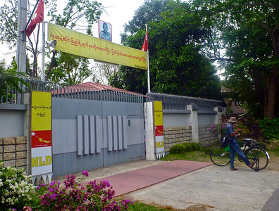 Outside Daw Aung San Suu Kyi's House