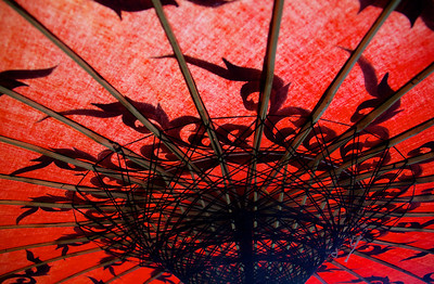Orange Cotton and Bamboo Umbrella
