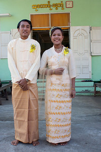 Groom and Bride Outside the Monastery