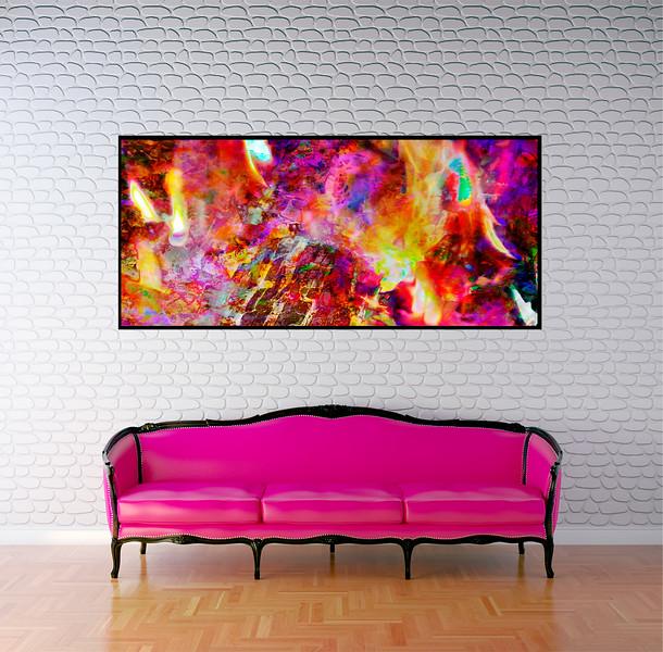 "Inferno 70""x35"" Black Aluminum Artbox Frame with Matte Acrylic Glass"