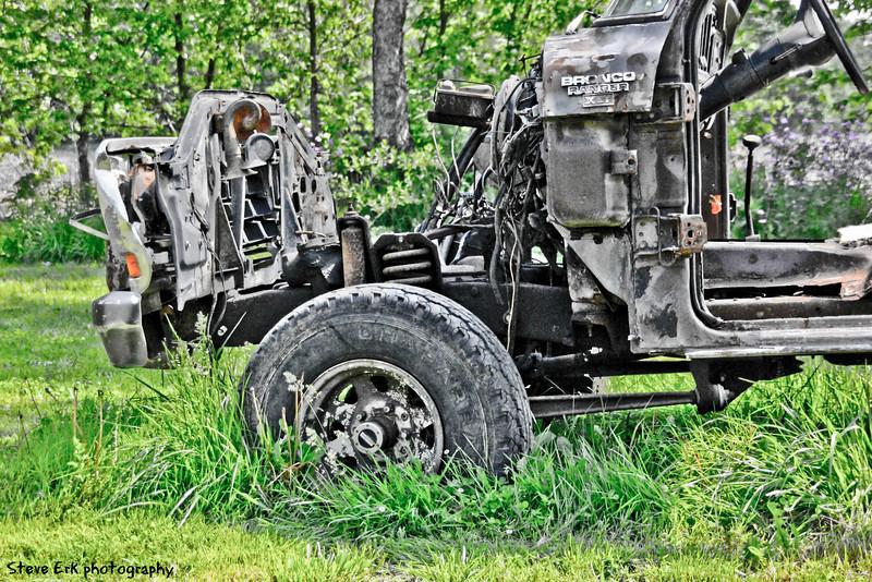 Burned old truck