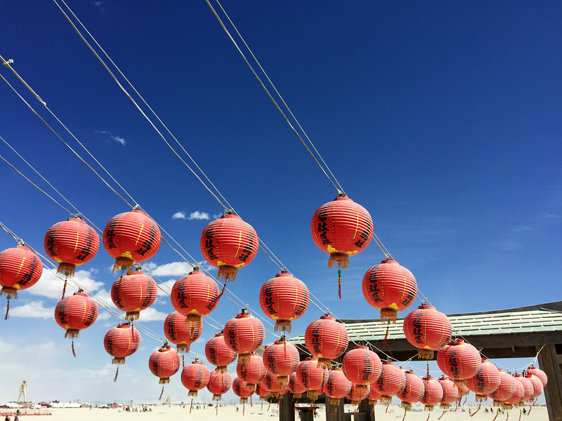 Red Lanterns at Mazu Temple with The Man in the Distance