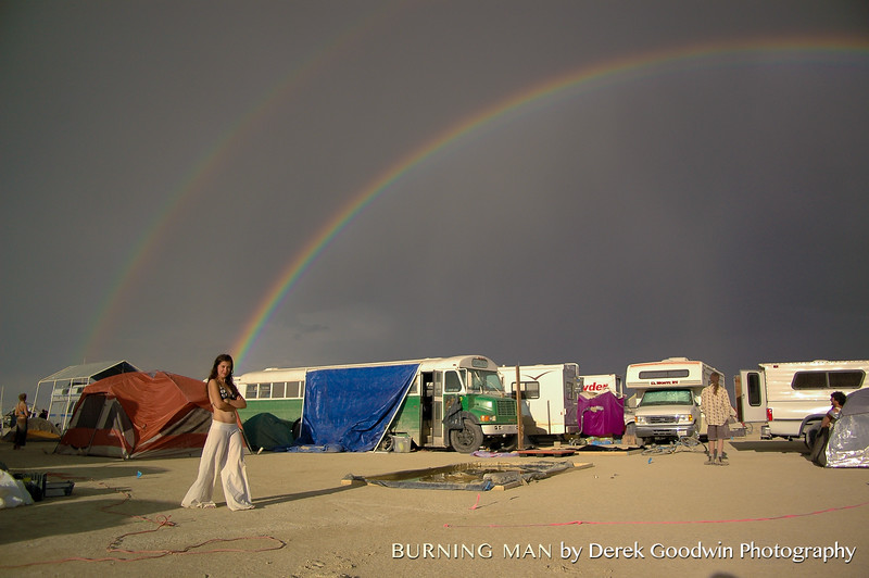 Megan LaBonte and a double rainbow over the Vegan Bus