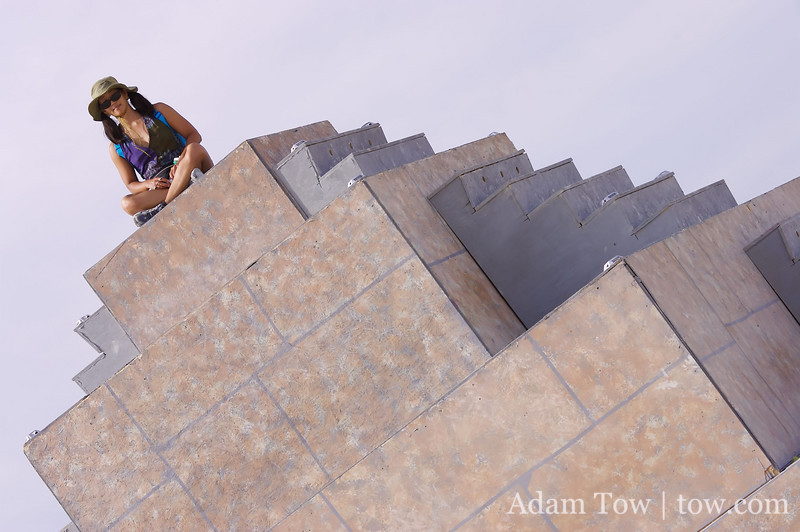 Rae atop the pyramid