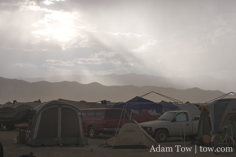 The dust storm clears up