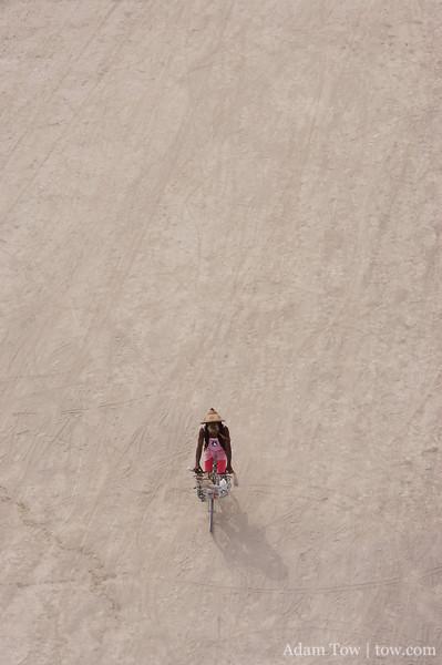 Biker arriving