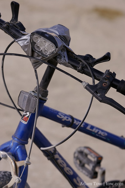 Makeshift bike light holder
