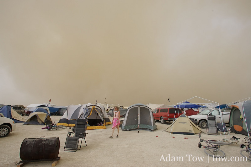Full frontal assault of dust approaches our tents