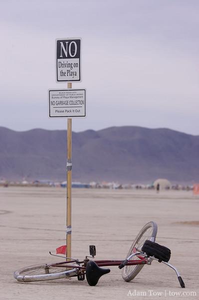 No driving on the Playa