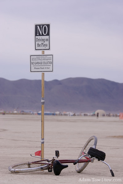 No driving on the Playa