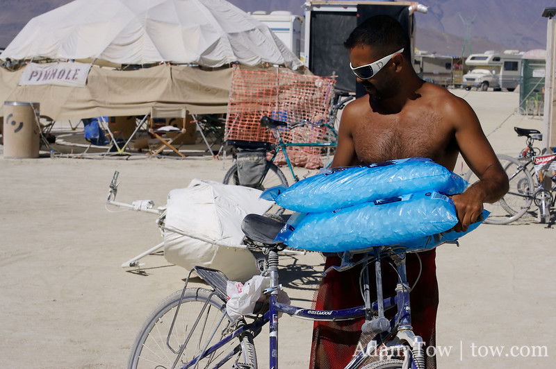 Ice is one of the few items for sale at Burning Man