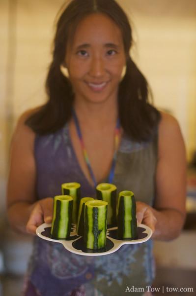 Rae with cucumber sake cups