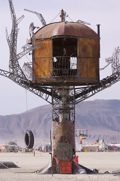 A metal treehouse