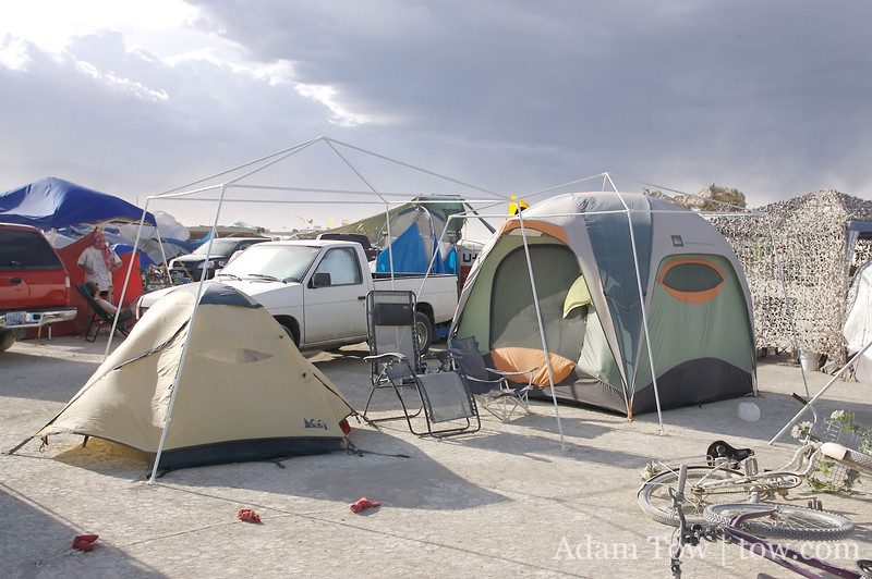 Our tents survived the dust storm, but not our covered canopie