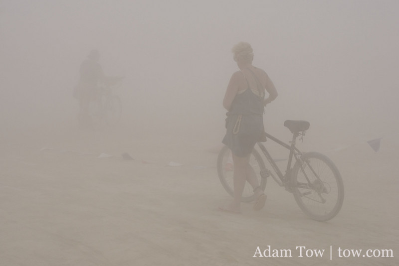 Walking back to camp in the dust storm