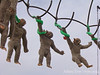 Strobe effects made it look like the monkeys were swinging
