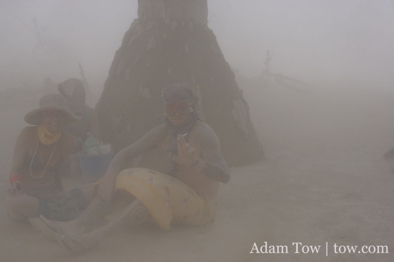 Sitting out the dust storm underneath the Man