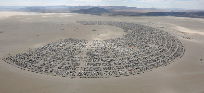 Black Rock City sprawls across the Black Rock Desert of Nevada on August 31, 2016.