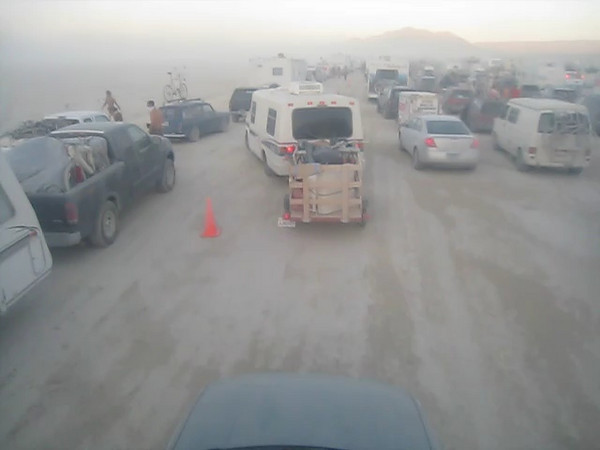 Whiteout conditions in Black Rock City: 3 hour wait for the gates to reopen on day one