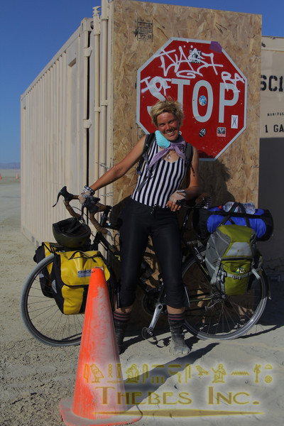 Tracey rode into Burning Man from Victoria, BC. About 1200 miles!