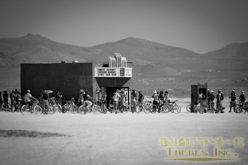 A cinema in the deep playa. By Sam Gipson, Rocky Gipson, David Neuman, Anthony Baldwin, Chris Karas, Blake Gonsoulin, Amanda Hoffhines, Filippo Vaccaro.