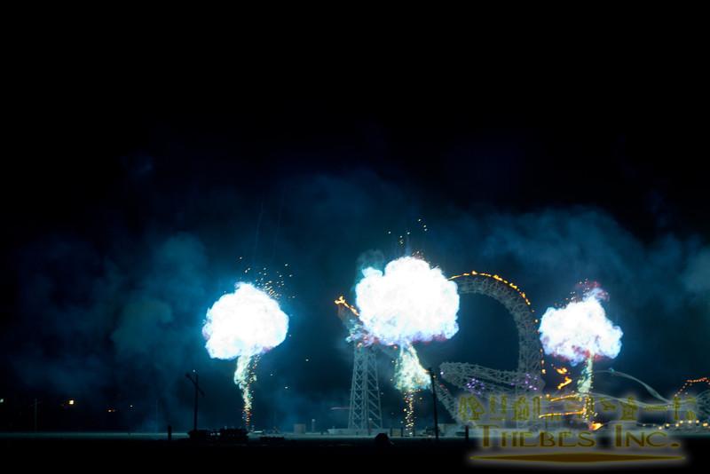 Bizarre chemical fireballs that blinded in blue light.