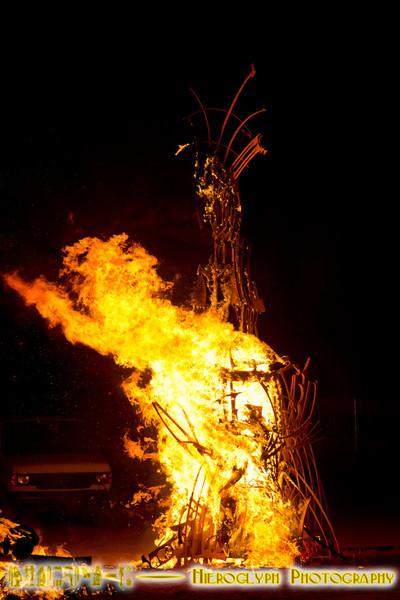 Temple's piece on fire