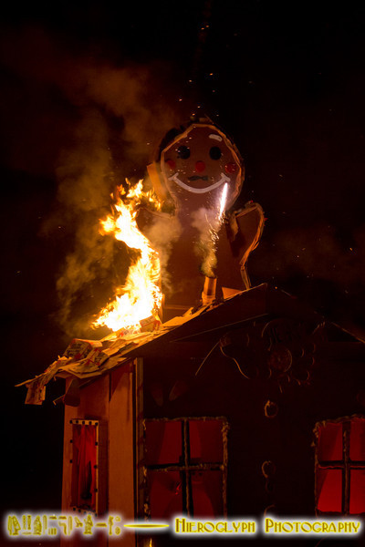 Gingerbread man shoots fireworks from between his legs...