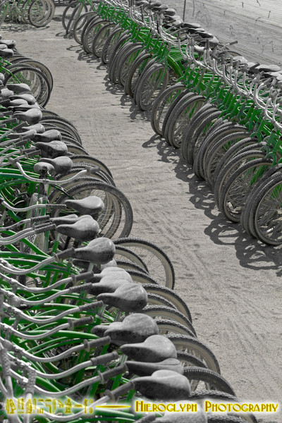 Yellow bikes are actually green.
