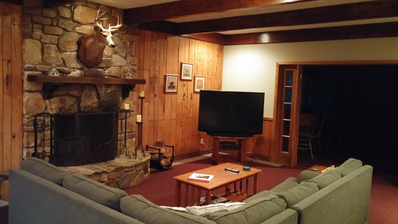 Clubhouse room with large TV.
