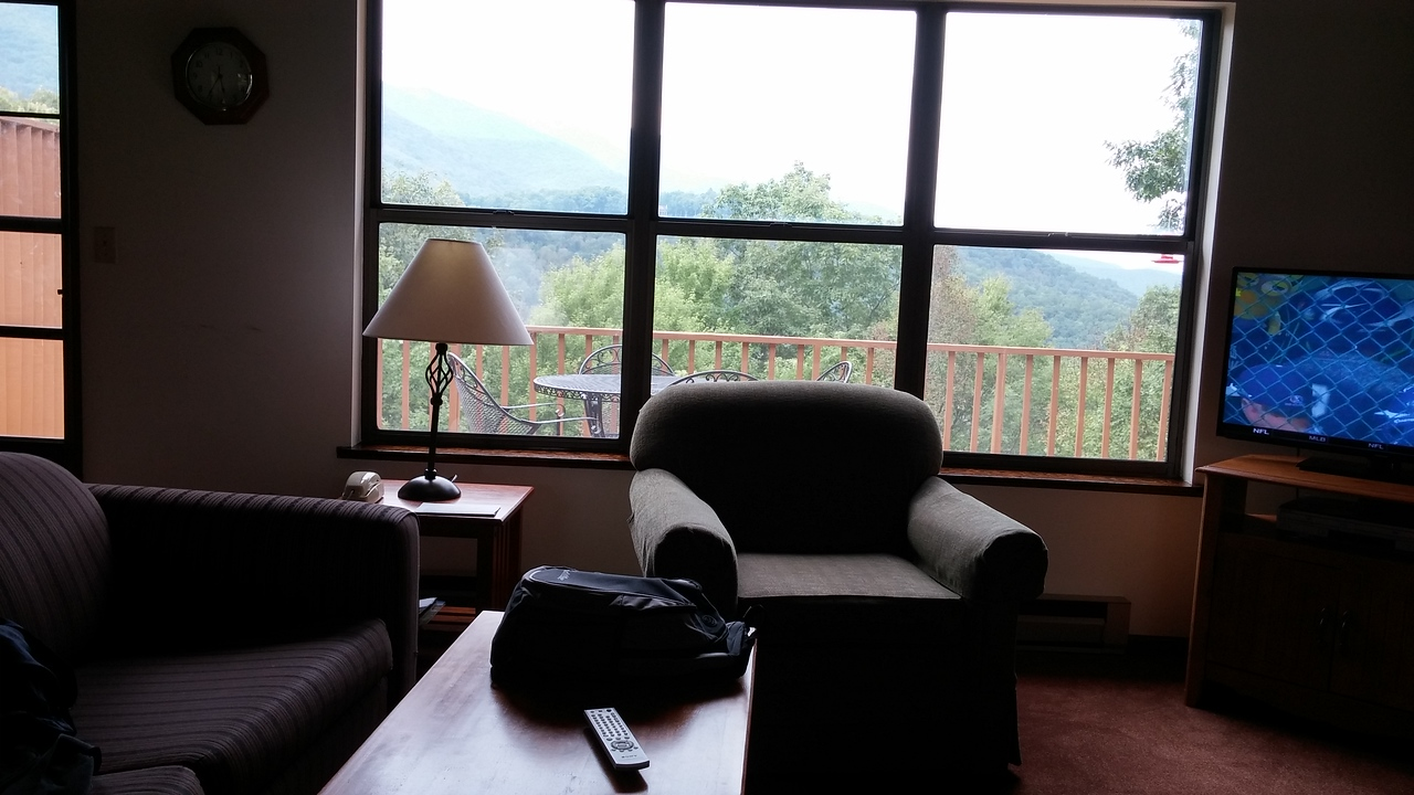 Great view of the mountains from the living room.