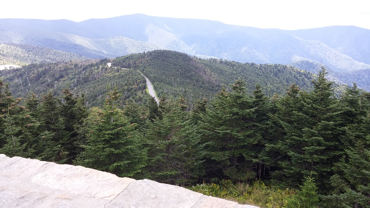 Road to Mount Mitchell as viewed from the summit.